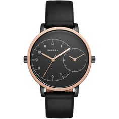 Women's Skagen 'Hagen' Leather Strap Watch, 36Mm ($195) ❤ liked on Polyvore featuring jewelry, watches, skagen watches, skagen wrist watch, skagen, skagen jewelry and leather strap watches