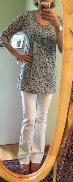 White jeans under a tunic - dressing for women over 50.