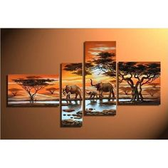 Hand Painted Art Oil Painting on Canvas 4 Piece Canvas Art African Painting Modern Art Large Painting Wall Art Decor for Home Decoration Gallery Wrapped Stretched and Ready to Hang Hand Painting Art, Online Painting, Large Painting, Oil Painting On Canvas, Canvas Art, Painting Abstract, China Painting, Large Canvas, Black Canvas
