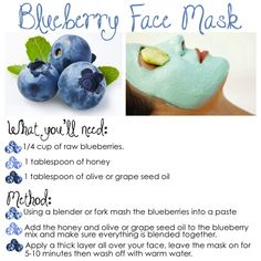Blueberry Face Mask- this looks like a good one..