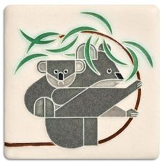 Charley Harper's charming koala bears find a perfect home on these tiles.