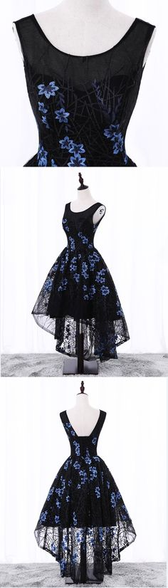 Black lace high low embroidery prom dress, black party dress - Thumbnail 3