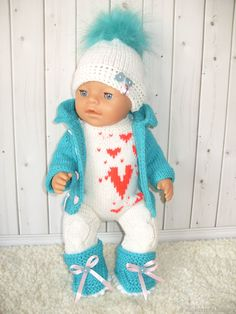Beautiful Children, Beautiful Dolls, Baby Born Clothes, Knit Baby Dress, American Doll Clothes, Doll Patterns, Puppets, Baby Knitting, Baby Dolls