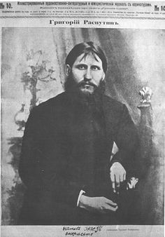 Grigorii Yefimovich Rasputin was a Russian peasant, mystic, psychic, faith healer, private advisor of the Romanovs, and influential figure os tsar Nicholas.  At age 47 he was mysteriously murdered.