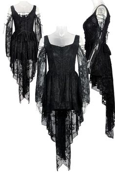 Robe noire épaules nues et manches en dentelle élégante gothique romantique >…