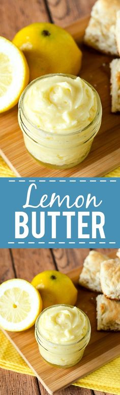Lemon Butter Recipe - Sweet and tangy Lemon Butter goes perfectly on your favorite roll, biscuit, or scone for a refreshing and yummy treat. Make it in just 10 minutes with 5 ingredients! Easy compound butter recipe makes a great DIY gift idea too! Sweet Butter, Honey Butter, Lemon Butter, Butter Mochi, Flavored Butter, Homemade Butter, Homemade Cheese, Butter Spread, Lemon Recipes