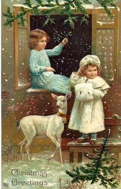 "Vintage Christmas Postcard ~ ""Christmas Greetings"" Embossed Card w/ Victorian Era Children & a White Deer * Back is inscribed with ""Dear Anna, I wish you a merry xmas and a happy new year. Alice"" * Dec. 24, 1908"