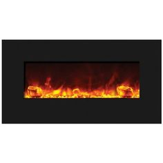 """Amantii 34"""" Fire & Ice Wall/Built In Fireplace - Black Glass Surround"""