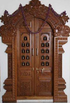 Pooja Room Door Frame And Door Design Gallery Wood Design Ideas Front Door Design Wood, Pooja Room Door Design, Main Door Design, Wooden Door Design, Wooden Doors, Wood Design, Gate Design, Wooden Crates, Design Design
