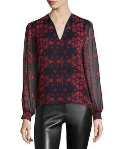 Cassandra Lotus-Print Chiffon Blouse, Black/Red