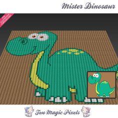 Mister Dinosaur c2c graph crochet pattern; instant PDF download; baby blanket…