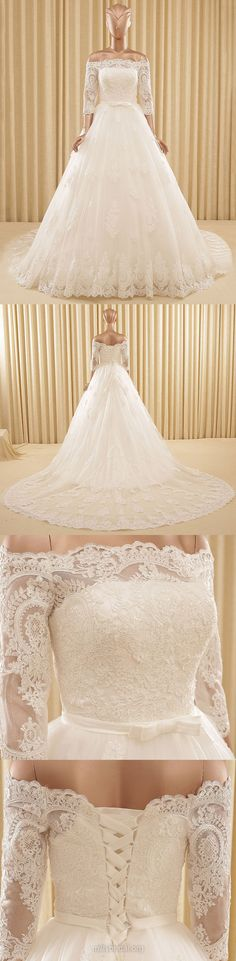 A-line Wedding Dresses Lace, Off-the-shoulder Bridal Gowns Tulle, 3/4 Sleeve Wedding Dress Modest