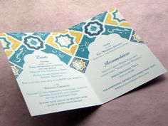 {Real Palettes} Lapis Blue, Turquoise and Yellow Persian Tile Invitations