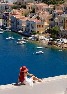 Enjoying the superb view of Symi island ~ Greece