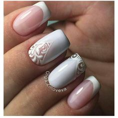 (15) French Manicure with Accent Nails~Wedding Worthy | uñas |... ❤ liked on Polyvore featuring beauty products, nail care, nail treatments and nails
