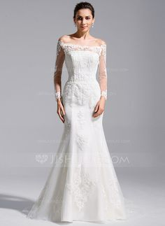 [US$ 320.99] Trumpet/Mermaid Off-the-Shoulder Cathedral Train Tulle Lace Wedding Dress (002071760)