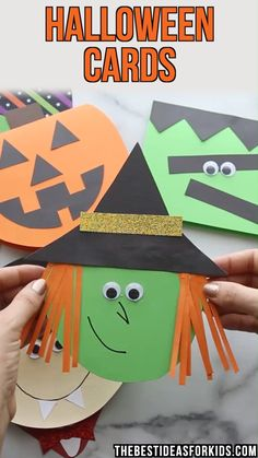 HALLOWEEN CARDS - easy Halloween cards for kids to make with free printable templates! Make your own handmade Halloween cards with free printable templates! Choose from a witch, Frankenstein, pumpkin or vampire! Halloween Tags, Halloween Arts And Crafts, Halloween Decorations For Kids, Halloween Crafts For Toddlers, Fall Crafts For Kids, Toddler Crafts, Preschool Crafts, Art For Kids, Kids Diy