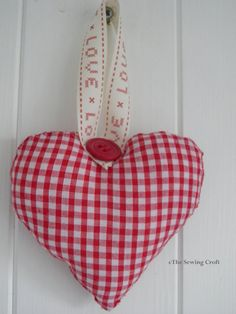 Shabby Chic Red Gingham Hanging Heart vintage by TheSewingCroft, £8.00