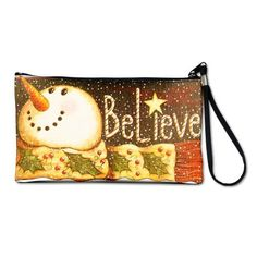 Artsmith, Inc. Clutch Bag Purse (2-Sided) Believe Candy Cane Christmas Snowman with Scarf Artsmith Inc. $59.97