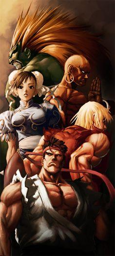 Street Fighter, Character Collage, Ryu, Ken, Chun-Li, Dhalsim, Blanka