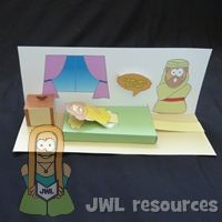 Jairus & Daughter (she pops up from bed!)  printable with instructions