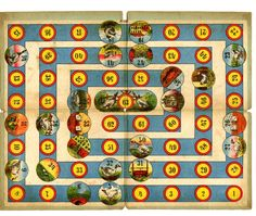 1893 Game board for the game of the goose with 63 numbered circular compartments, some of them showing geese, dice etc.  Lithograph backed on board