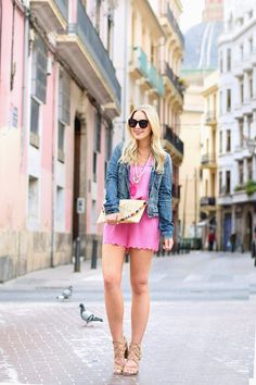Pink Scalloped Romper - Cort In Session