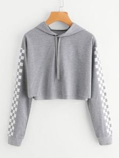 SheIn offers Contrast Checked Sleeve Crop Hoodie & more to fit your fashionable needs. Girls Fashion Clothes, Teen Fashion Outfits, Outfits For Teens, Girl Outfits, Teen Clothing, Womens Fashion, Crop Top Hoodie, Cropped Hoodie, Grey Hoodie