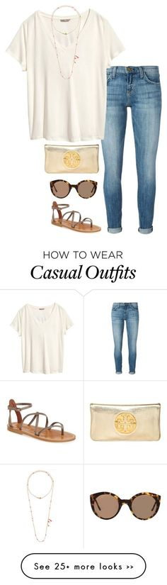 """""""casual day out"""" by helenhudson1 on Polyvore featuring Current/Elliott, H&M, Chan Luu, Illesteva, K. Jacques and Tory Burch"""
