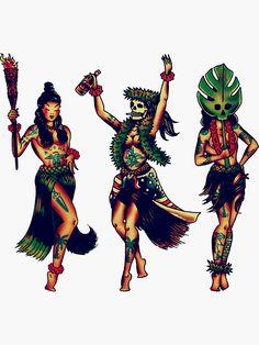 Hula Girl Tattoos, Pin Up Girl Tattoo, Pin Up Tattoos, Dope Tattoos, Badass Tattoos, 16 Tattoo, Cover Tattoo, Traditional Tattoo Girls, Voodoo Doll Tattoo