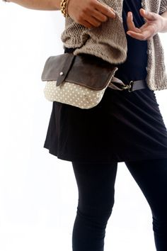 Hip Bag - Fanny Pack - Leather and Canvas - Traveler Bag - Utility Hip Belt - Hip Pouch