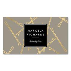 Chic Gold Bobby Pins Hairstylist, Hair Salon III Business Card