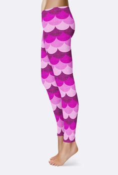 Pink Mermaid Leggings. Pink Yoga Pants. Yoga Tights. Fish Scales. Dragon Scales. Festival Clothing  These stretchy leggings feature a lovely pattern of playfully pink mermaid scales digitally textured with the salt of the sea. They could also be fish or dragon scales--totally up to you!  ——————-  All of my leggings are made from custom fabric that has been dye printed using my own original artwork and designs. The colors will not fade no matter how many times you wash them. However, not all…