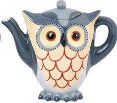 Gray Owl Shaped Ceramic Tea Pot