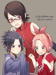 Sarada meets little Sasuke and Sakura Itachi Uchiha, Hinata, Naruto Y Boruto, Naruto And Sasuke, Naruhina, Anime Naruto, Naruto Comic, Naruto Art, Naruto Clans
