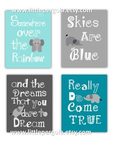 Somewhere Over the Rainbow Elephant art for Kids by LittlePergola, $55.00