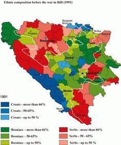 Composição étnica da Bósnia-Herzegovina em 1991, antes da guerra civil