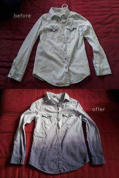 DIY Clothes DIY Refashion: DIY Ombre Dip-Dyed Shirt