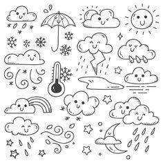 Set Of Weather Doodles Illustration Doodle Art Doodles Illustration set Weather Easy Doodles Drawings, Cute Easy Drawings, Mini Drawings, Cute Easy Doodles, Doodle Illustrations, Illustration Art, Cute Doodle Art, Doodle Art Designs, Doodle Art Drawing