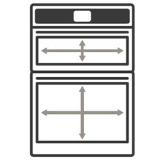 An icon of the appliance with arrows measuring its capacity Oven Cleaning, Steam Cleaning, French Door Wall Oven, Electric Wall Oven, Single Oven, Perfect Marriage, Oven Racks, Fresh Vegetables, Appliance