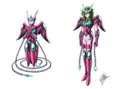 Shun portando la armadura de Andrómeda versión Omega. Dibujo hecho por Marco Albiero