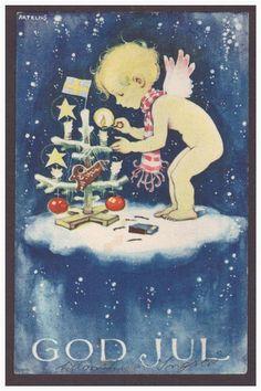 Artelius. God Jul. Änglabarn på moln klär julgran. på Tradera.com -