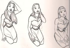 Disney Princesses - Preproduction Sketches (Aurora, Anastasia, Chel, and Pocahontas) Disney Pixar, Walt Disney, Disney Animation, Disney Art, Disney Drawings, Art Drawings, Pocahontas Character, Animation Sketches, Anastasia