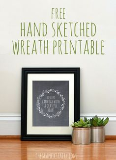 Free Hand Sketched Wreath Printable! - The Graphics Fairy