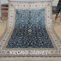 Yilong 6'x9' Blue Persian Silk Rugs Hand Knotted All Over Carpets Handmade 0966