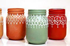 Autumn green mason jar decor
