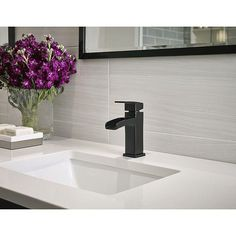 Pfister Kenzo Single Hole Single-Handle Bathroom Faucet in Matte Black