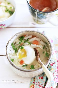 simple vegetarian miso soup with tofu + poached eggs