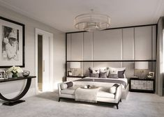 Luxury interior design of apartment in brownstone townhouse on the Upper East Side of New York City. With custom millwork and rock crystal chandeliers.