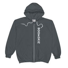 BOOMSKIZ Sideways Unisex Zipped Hoodie - Charcoal